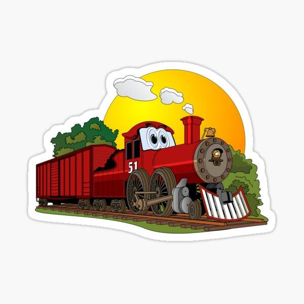 Red Cartoon Steam Engine Sticker