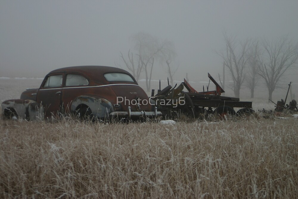 Old cars in a field of frost in winter by PhotoCrazy6