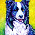 Colorful Border Collie Dog by Rebecca Wang