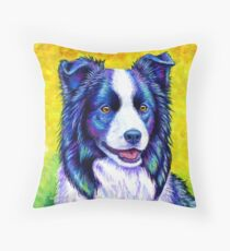 Colorful Border Collie Dog Floor Pillow