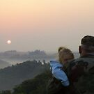 Grandfather and Granddaughter sunrise by estrica