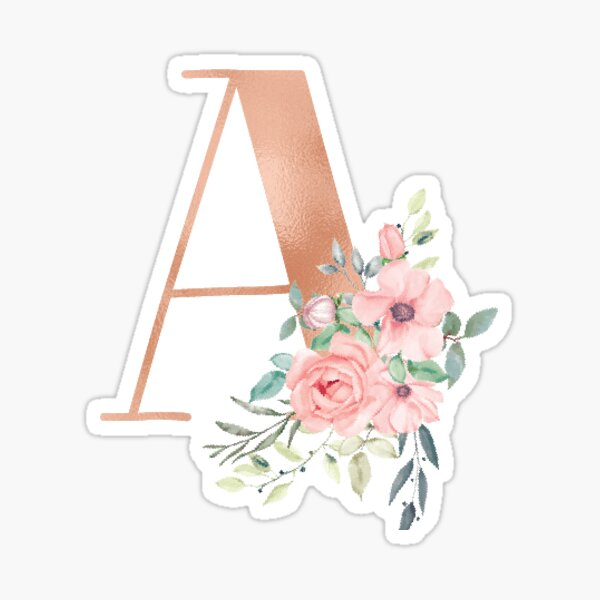 Letter A Monogram Rose Gold Pink Flowers Sticker