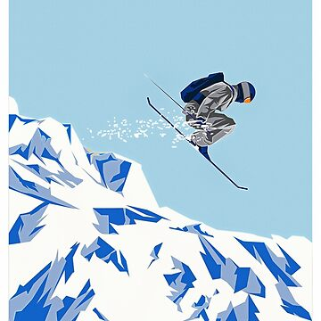 Airborn Skier Flying Down the Ski Slopes by ElainePlesser