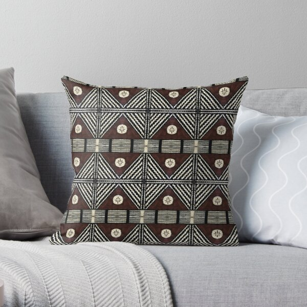 Fijian Tapa Cloth 7 by Hypersphere Throw Pillow