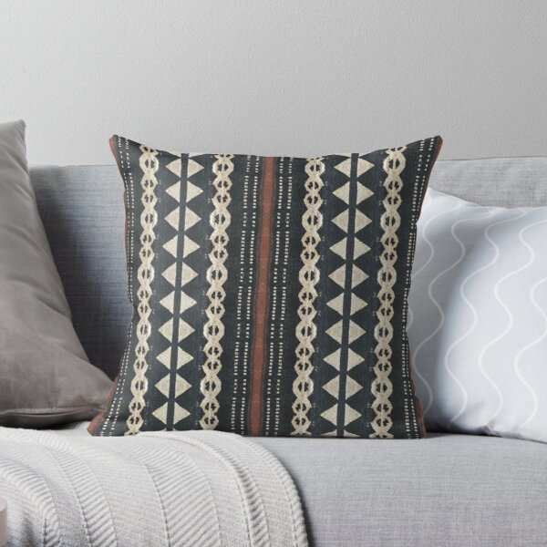 Fijian Tapa Cloth 13 by Hypersphere Throw Pillow