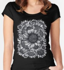 Black, White, Sunflowers, flowers, print,  Fitted Scoop T-Shirt