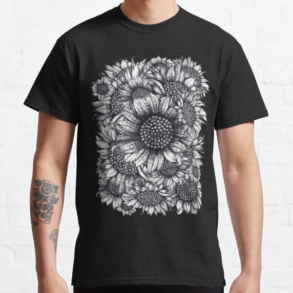 Black and white Sunflowers Classic T-Shirt