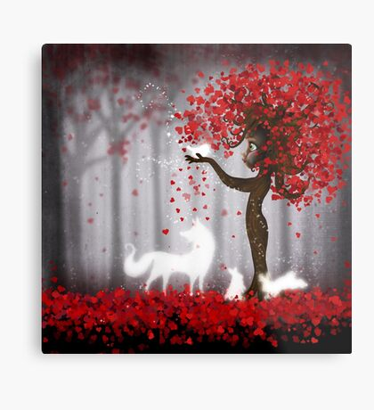 Magical Heart Tree Forest for Spirit Animals Metal Print
