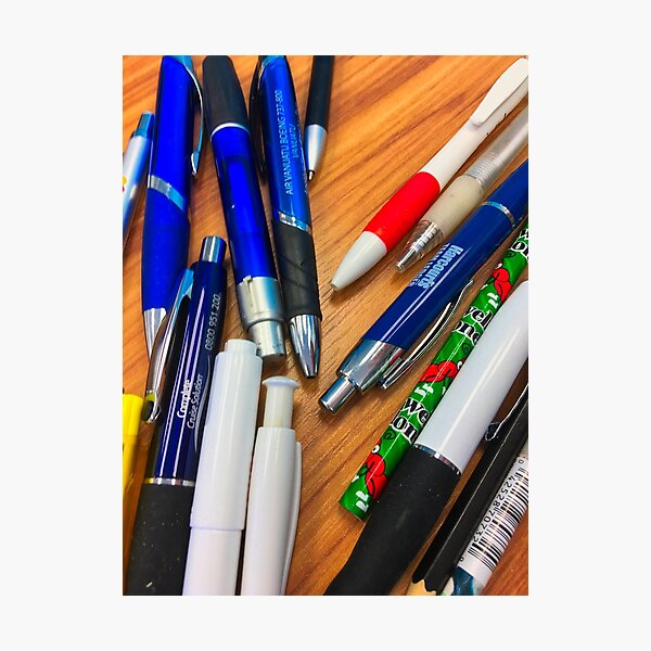 Pens On A Table Photographic Print