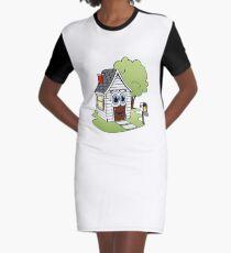 White House Cartoon Graphic T-Shirt Dress