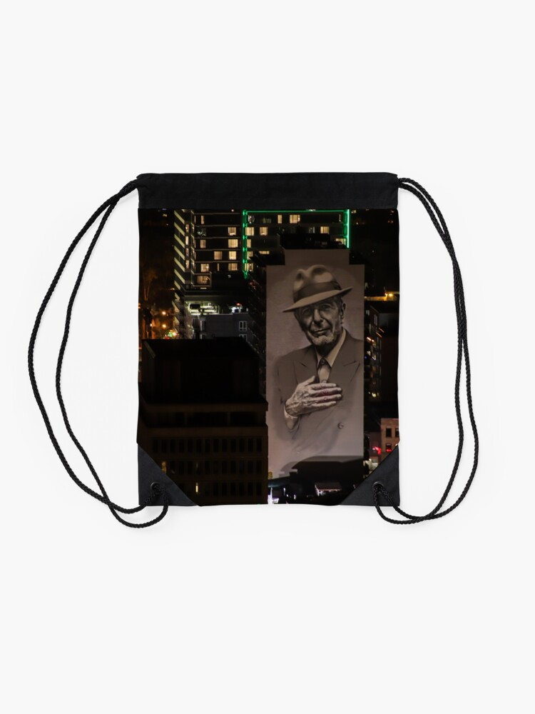 Alternate view of Montreal at Night Home of Leonard Cohen Drawstring Bag