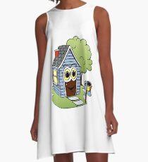 Blue House Cartoon A-Line Dress