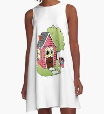 Pink House Cartoon A-Line Dress