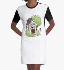 Beige Cartoon House Graphic T-Shirt Dress