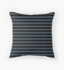 Charcoal Gray and Black Horizontal Stripes Floor Pillow