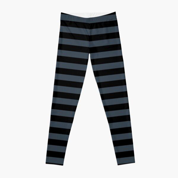 Charcoal Gray and Black Horizontal Stripes Leggings