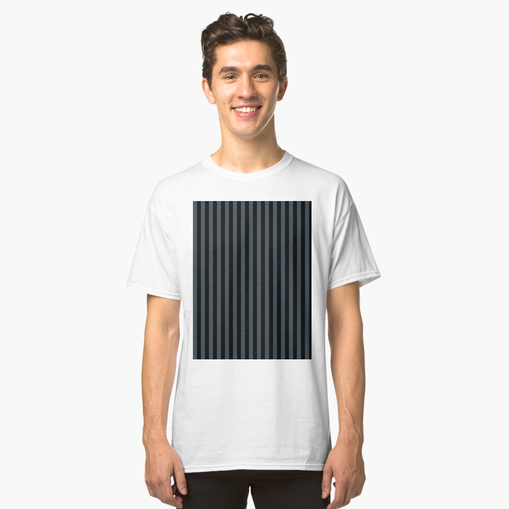 Charcoal Gray and Black Vertical Stripes Classic T-Shirt