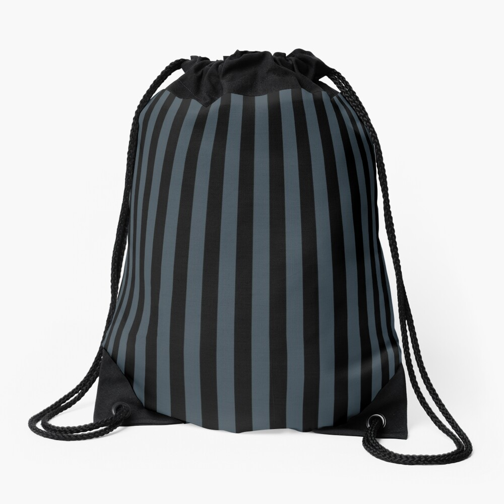 Charcoal Gray and Black Vertical Stripes Drawstring Bag