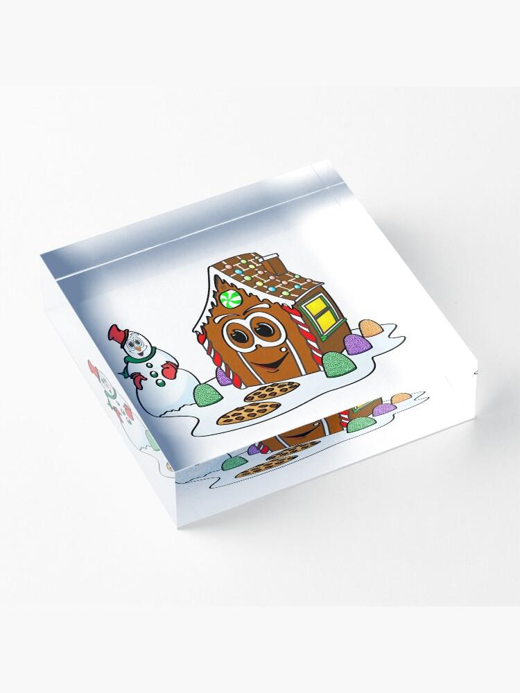 Vista alternativa de Bloque acrílico Gingerbread House Snowman Cartoon