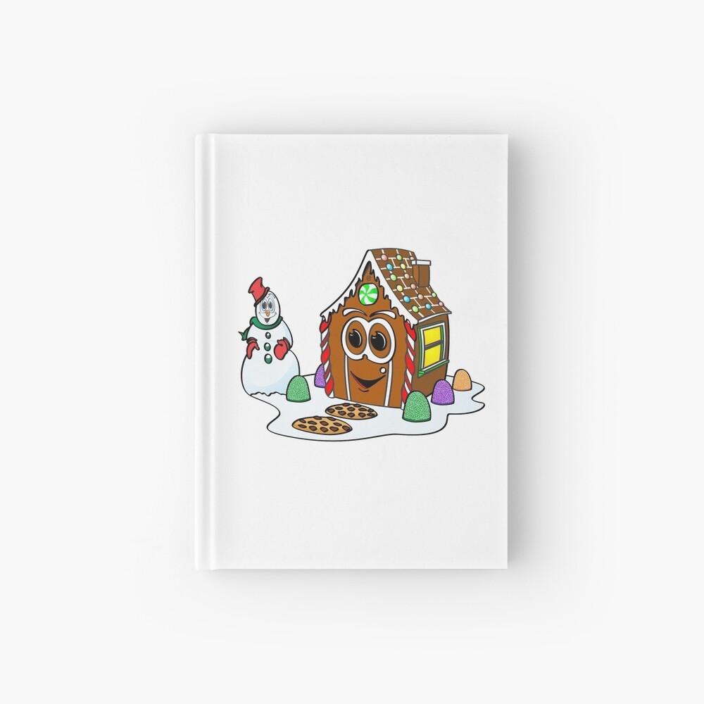 Gingerbread House Snowman Cartoon Cuaderno de tapa dura