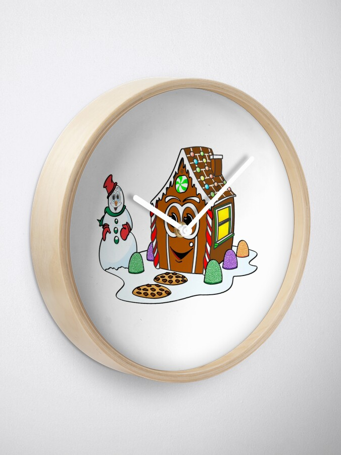 Vista alternativa de Reloj Gingerbread House Snowman Cartoon