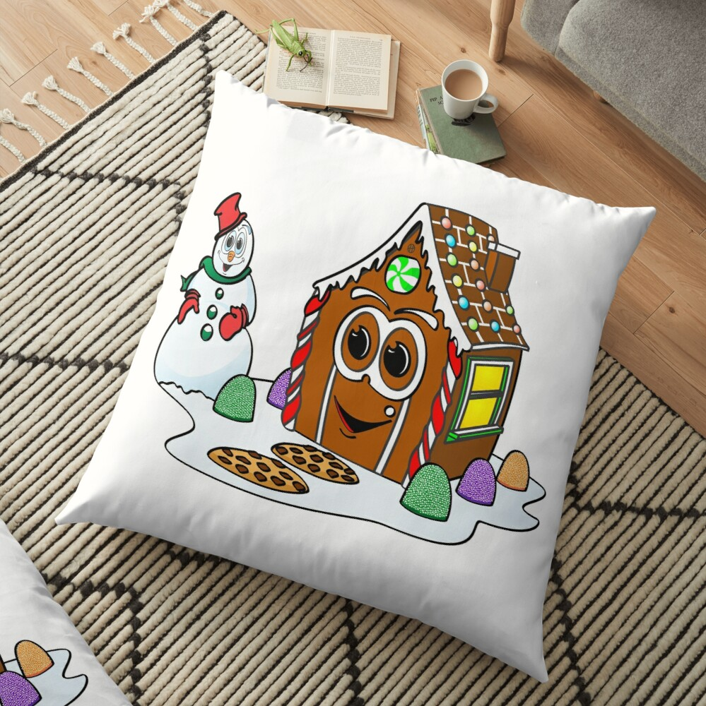 Gingerbread House Snowman Cartoon Cojines de suelo
