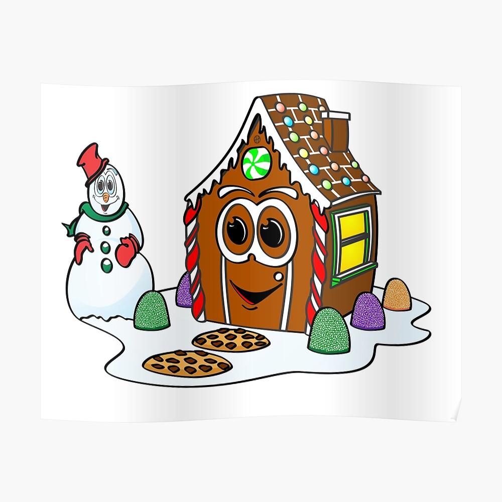 Gingerbread House Snowman Cartoon Póster