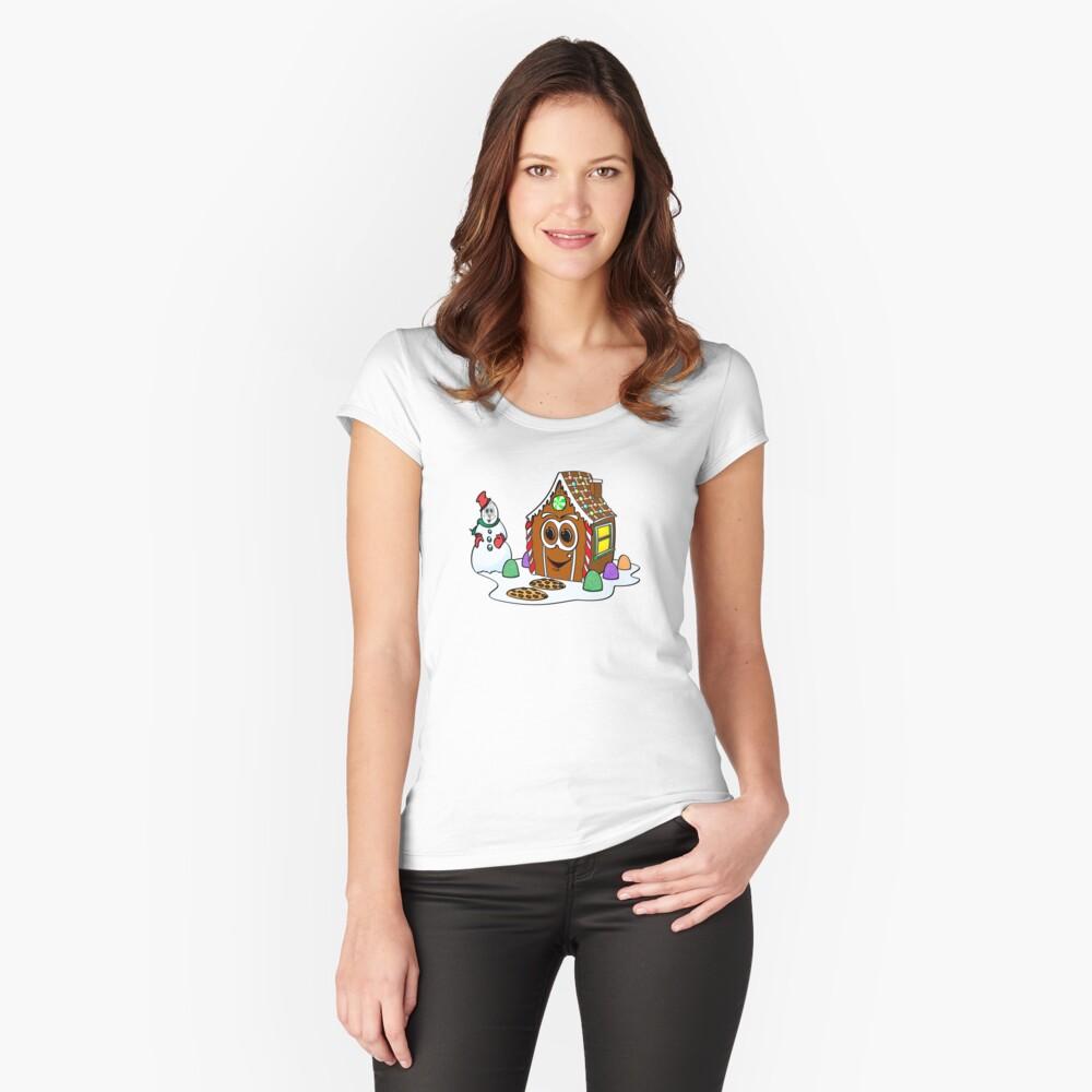 Gingerbread House Snowman Cartoon Camiseta entallada de cuello ancho