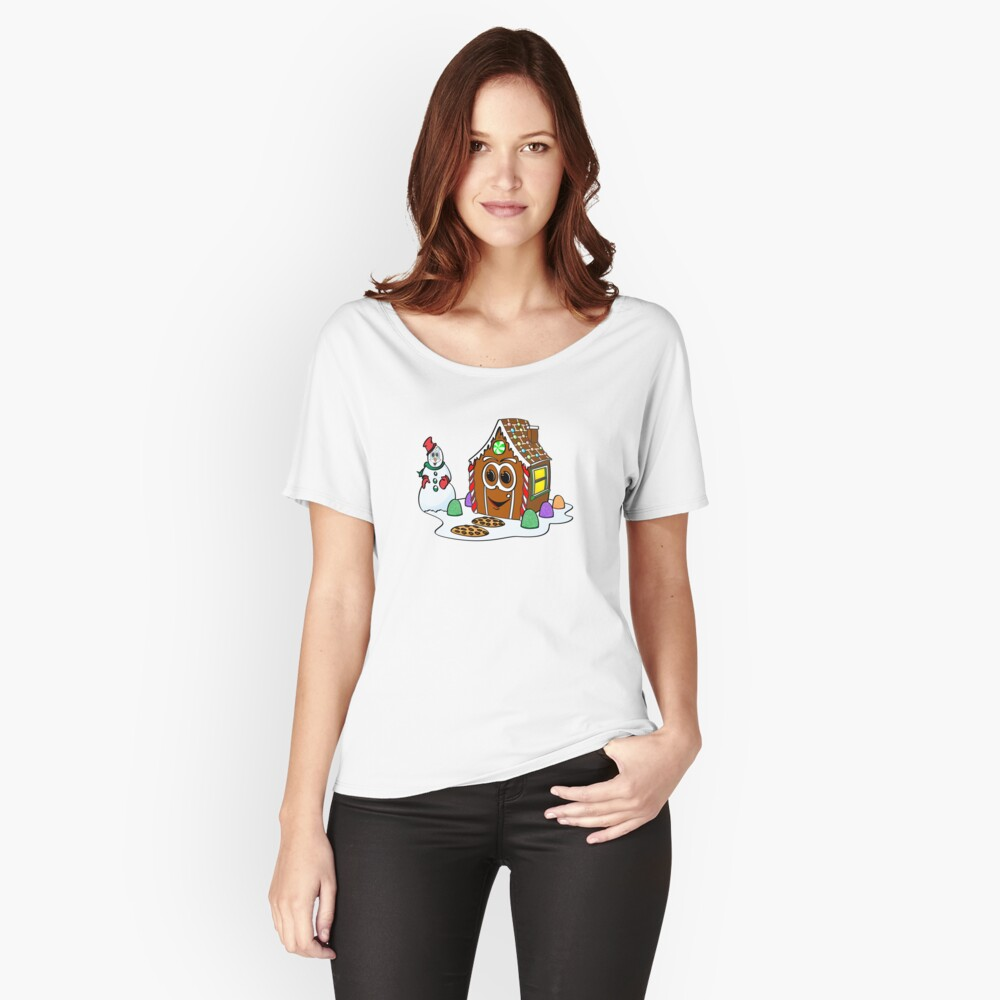 Gingerbread House Snowman Cartoon Camiseta ancha