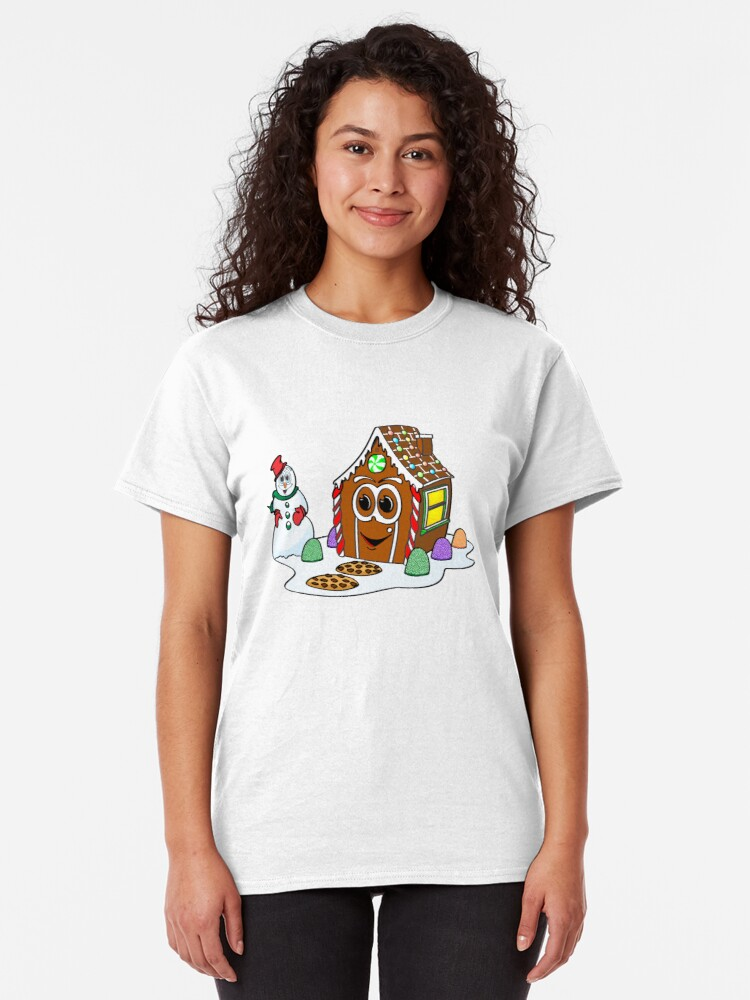 Vista alternativa de Camiseta clásica Gingerbread House Snowman Cartoon