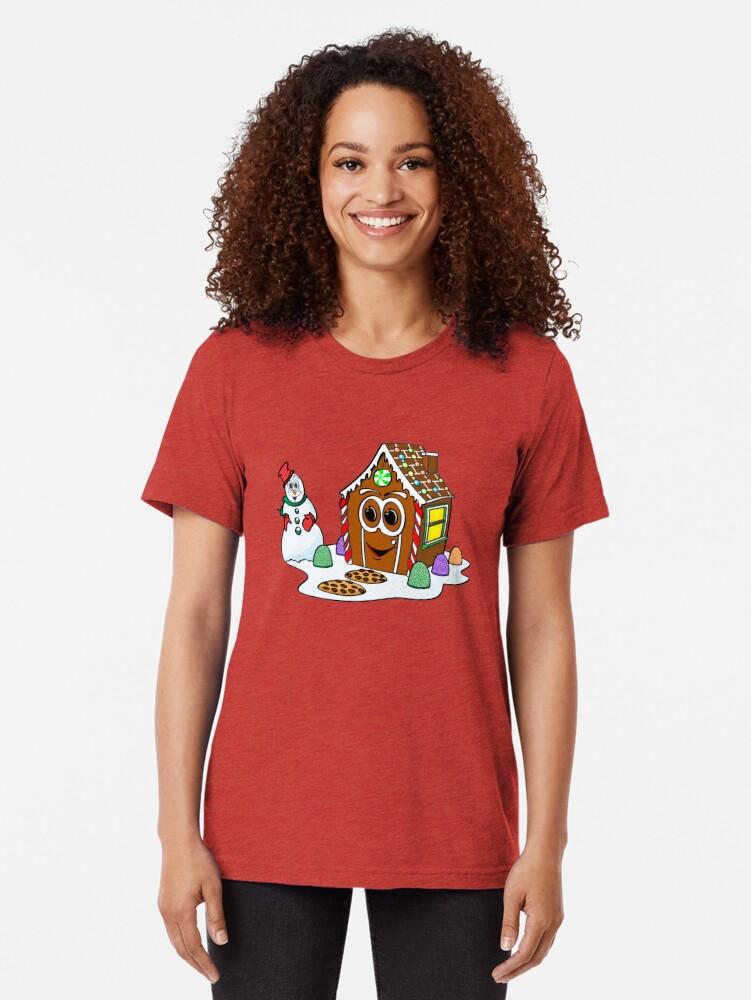 Vista alternativa de Camiseta de tejido mixto Gingerbread House Snowman Cartoon