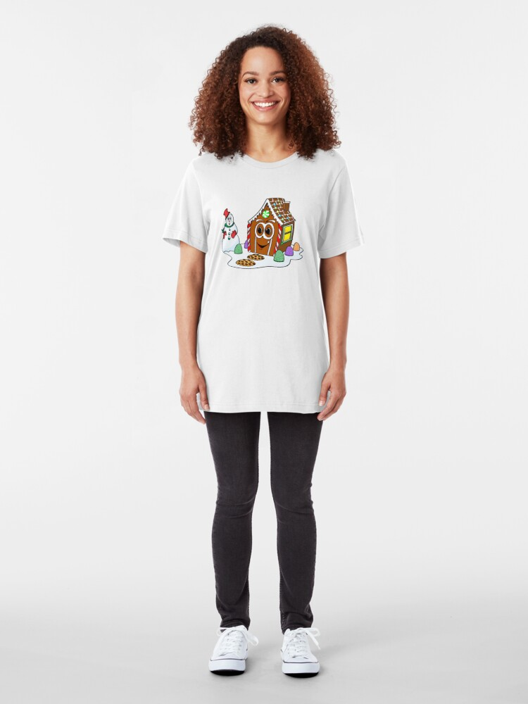 Vista alternativa de Camiseta ajustada Gingerbread House Snowman Cartoon
