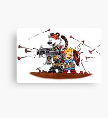Calvin and Hobbes Inspired Captain and Soldier Parody Canvas Print