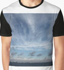 #sky #landscape #nature #outdoors #weather #storm #water #sea #rain #sunset #summer #horizontal #blue #colorimage #wide #nopeople #day #lightnaturalphenomenon #scenicsnature #sun #cloudsky #coastline Graphic T-Shirt