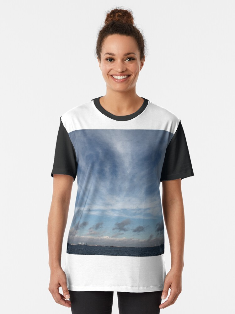 Alternate view of #sky #landscape #nature #outdoors #weather #storm #water #sea #rain #sunset #summer #horizontal #blue #colorimage #wide #nopeople #day #lightnaturalphenomenon #scenicsnature #sun #cloudsky #coastline Graphic T-Shirt