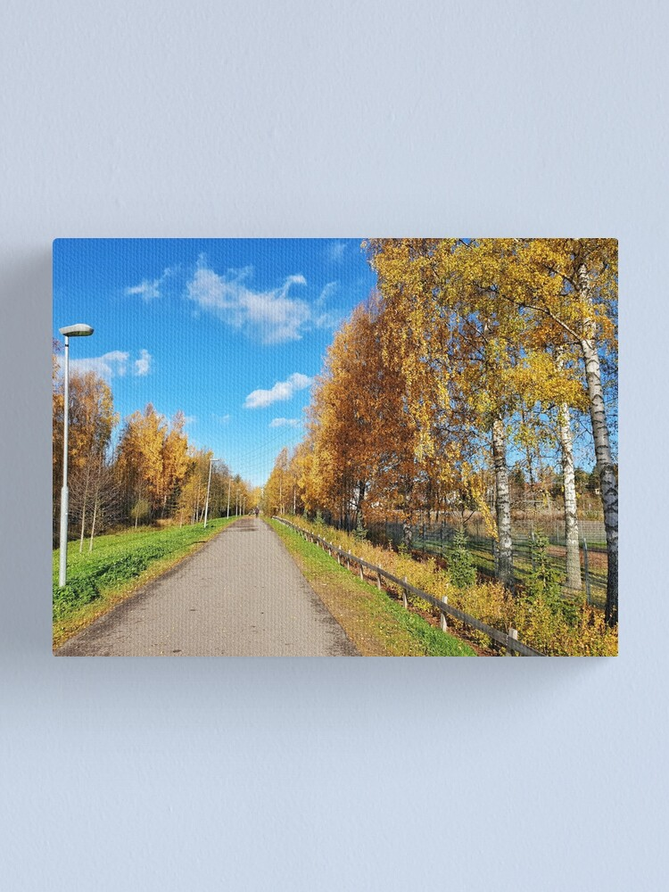 Alternate view of Autumn Path Tree-lined golden leaves  Canvas Print