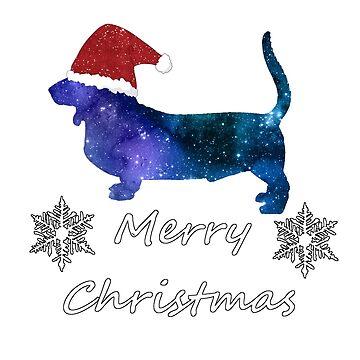 Santa Basset Hound - Christmas Dog Silhouette by GwendolynFrost