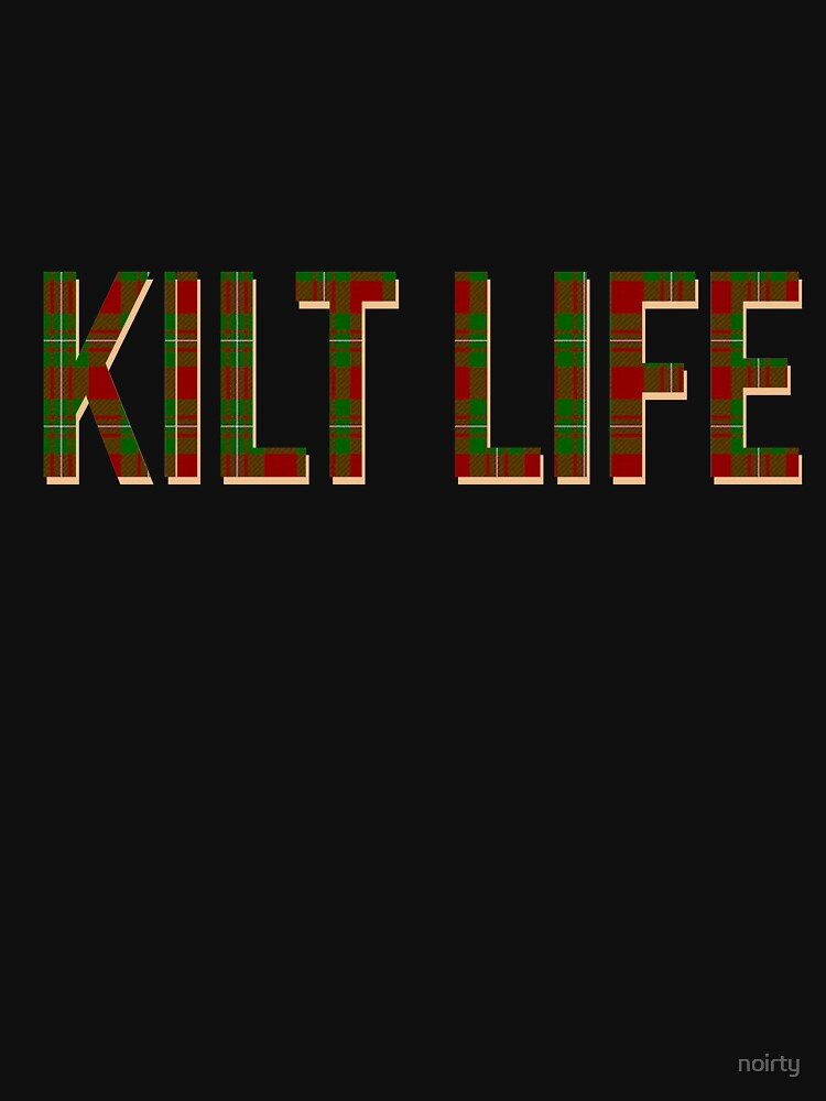 Mens Kilt Life T Shirt Red Green Plaid Shirt Stewart Tartan by noirty