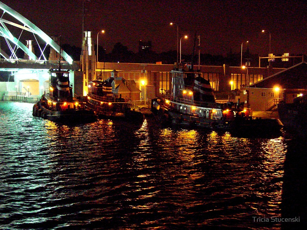 Tug Boats at night by Tricia Stucenski