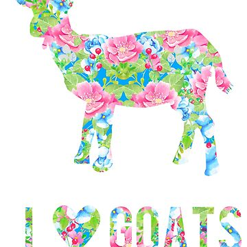 I Love Goats Floral Goat by LarkDesigns