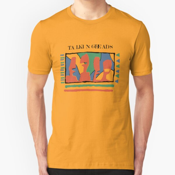 Talking Heads Funny Art Work Graphic Design Yellow Tshirt Slim Fit T-Shirt