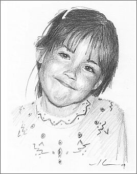 Proud girl pencil portrait by Mike Theuer