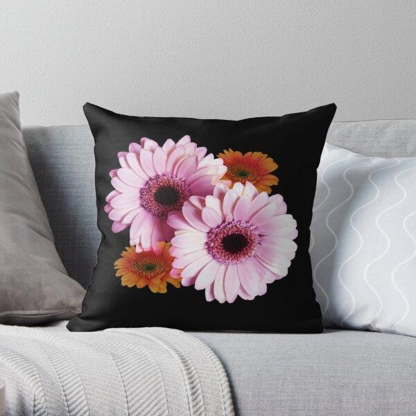 Four Gerberas On Black Throw Pillow