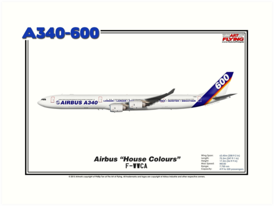 "Airbus A340-600 - Airbus ""House Colours"" (Art Print) by TheArtofFlying"