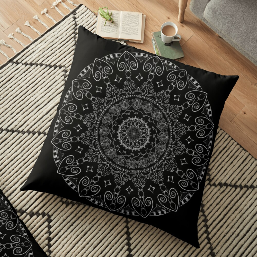 TARS Mandala Project 126 | White and Gold Floor Pillow