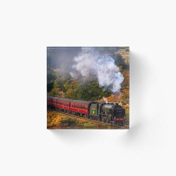Steam Train autumn woodland Acrylic Block