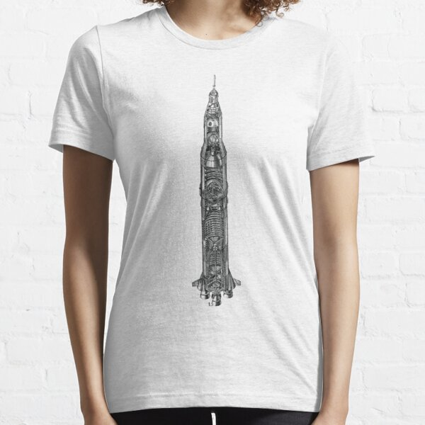 Apollo Saturn V Rocket Blueprint in High Resolution Essential T-Shirt