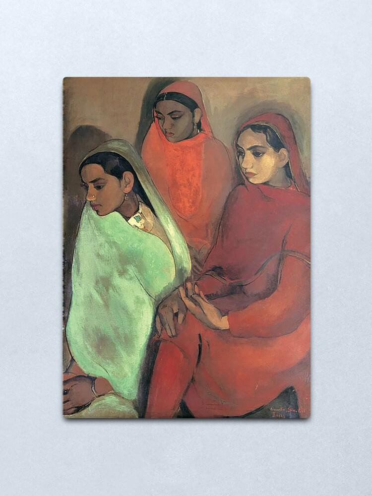 Alternate view of Three Girls - Amrita Sher-Gil Metal Print