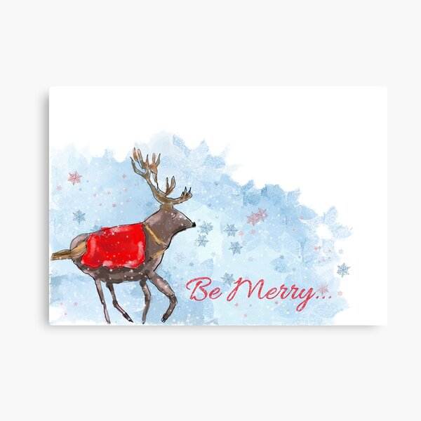 "Whimsical Christmas Reindeer & Snowflakes: ""Be Merry"" Design Canvas Print"