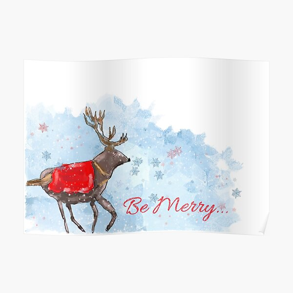 Whimsical Christmas Reindeer and Snowflakes: Be Merry Design Poster